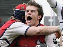 Mark Foster celebrates the winning try for Gloucester