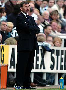 West Brom boss Bryan Robson watches his side lose 3-0 at Newcastle