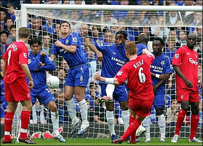 John Arne Riise's free-kick finds its way through a flimsy Chelsea wall