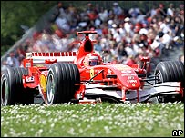 Michael Schumacher's Ferrari in qualifying for the San Marino Grand Prix