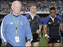 Bath coach Brian Ashton looks dejected after the defeat by Biarritz