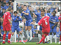 John Arne Riise gives Liverpool the lead with his free-kick after 21 minutes in his side's FA Cup semi-final win over Chelsea