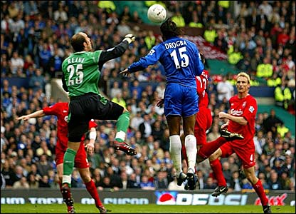 Didier Drogba scores for Chelsea