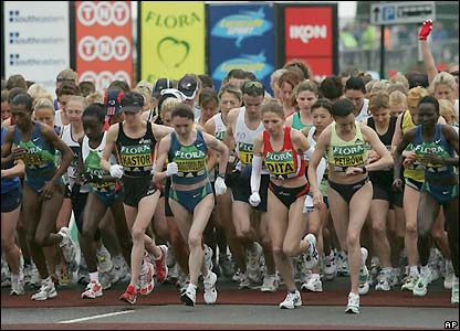 The leading women cross the start line in south-east London