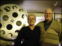 Christine Graham with chief projectionist Jimmy Purdham
