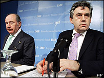 IMF Managing Director Rodrigo Rato (left) and UK Chancellor of the Exchequer Gordon Brown