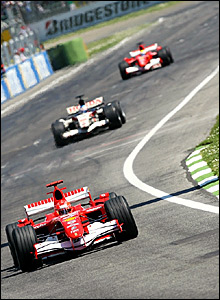 Michael Schumacher leads from Jenson Button and Felipe Massa