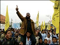 Fatah supporters demonstrate on Saturday in Jabalya refugee camp in the northern Gaza Strip