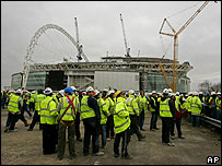 Construction workers at the Wembley Stadium site