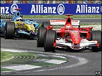 Michael Schumacher on his way to victory, ahead of Fernando Alonso, in the San Marino Grand Prix
