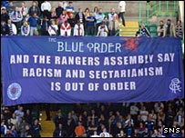 Rangers' Blue Order protests against sectarianism