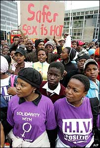 Aids campaigners in Cape Town on Sunday