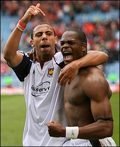 Anton Ferdinand and Harewood celebrate