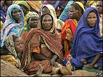 Women in a refugee camp near Seleah village in Darfur, western Sudan