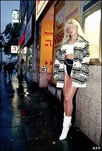 Prostitute on a street in Hamburg, Germany