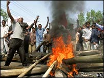 Protesters in Kathmandu on Sunday