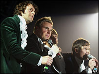 Take That on stage in Newcastle