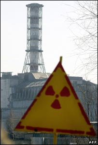 Radiation warning sign at Chernobyl