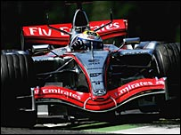 McLaren's Juan Pablo Montoya was third in San Marino