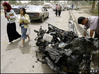 The wreckage of a car at the site of the blast at the Mustansiriya University