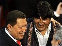 Hugo Ch�vez y Evo Morales.