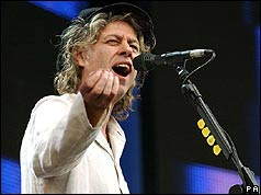 Bob Geldof performing on stage in London