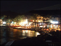 The Egyptian town of Dahab at night