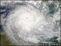 Satellite image of Cyclone Monica over Australia