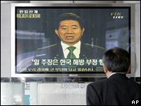 People watch South Korean President Roh Moo-hyun on TV, April 25th