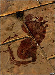 Bloody footprint near one of the blast sites in Dahab