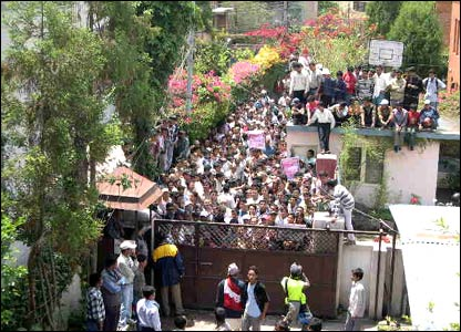 Crowds outside the home of former Prime Minister Girija Prasad Koirala