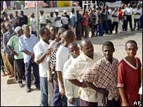 Tanzanians voting