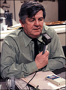 Len Martin reading the football results in 1978