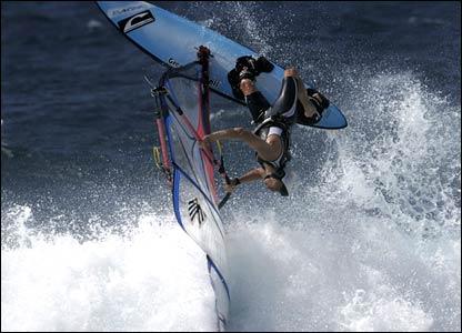 Dave Blythe's windsurfer