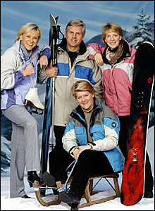 (l-r back row) Sue Barker, Steve Rider and Hazel Irvine, (front) Clare Balding