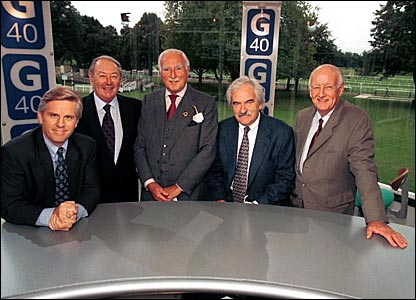 (l-r) Steve Rider, David Coleman, Peter Dimmock, Des Lynam and Frank Bough gather at the show's 40th anniversary celebrations in 1998