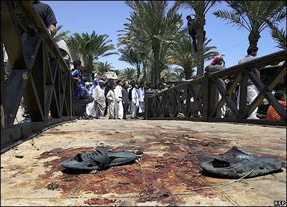 Sandals lie on a bridge in central Dahab