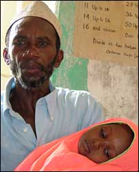 Sheikh Makame holding his daughter