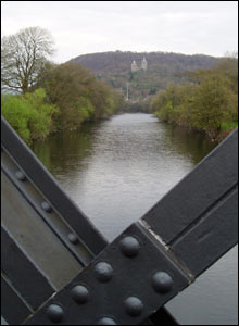 Castell Coch from the footbridge over the Taff just north of the M4 (Robert Magee)