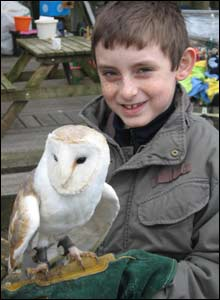 Glyn Selkirk's son James at the owl sanctury at the festival park, Ebbw Vale