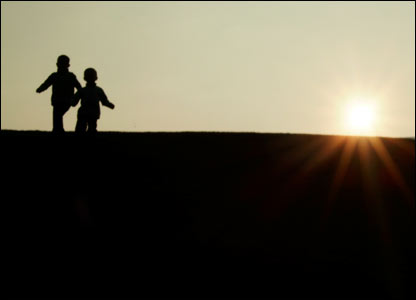 Gafyn Jones sent in this shot of his sons, Gruffudd and Gwion, running down a hill near Llangefni at twilight
