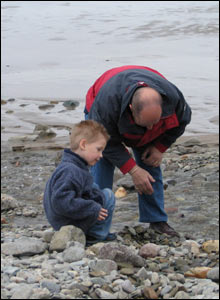Patrick Botto's son Benedict Botto and Bamby Smith crabbing in Whitesands bay, Pembrokeshire