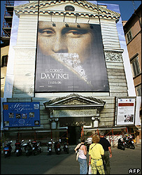 The Da Vinci Code poster on Rome's church of St Pantaleo