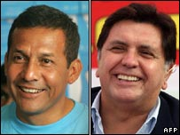 Peruvian presidential contenders Ollanta Humala and Alan Garcia, according to 99% of first-round results