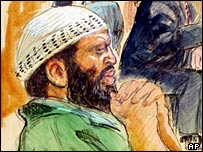 Zacarias Moussaoui on trial (Artist's sketch)