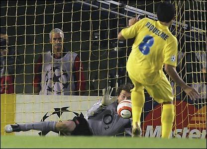 Jens Lehmann saves Juan Roman Riquelme's penalty