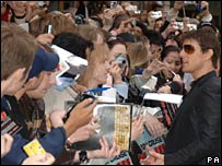 Tom Cruise greets fans in London