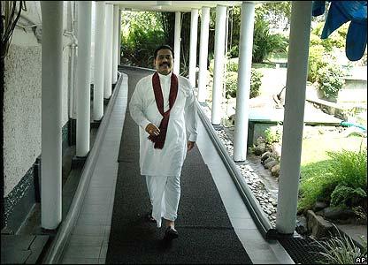 Sri Lankan president Mahina Rajapakse at his residence in Colombo