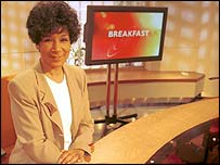 Moira in the Breakfast studio in 2000