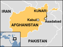 Map showing Kunar province